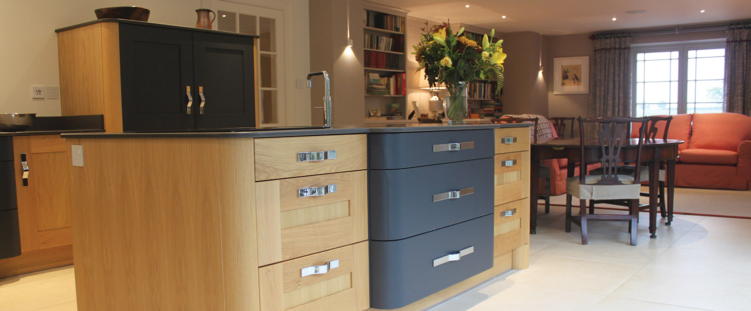 Deco style kitchen island in oak and dark grey