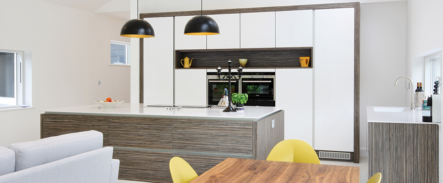 Modern white and grey zebrano kitchen open plan living