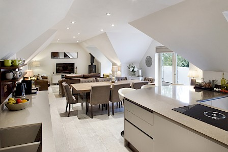 Open plan kitchen - new build in Cashmere and Walnut